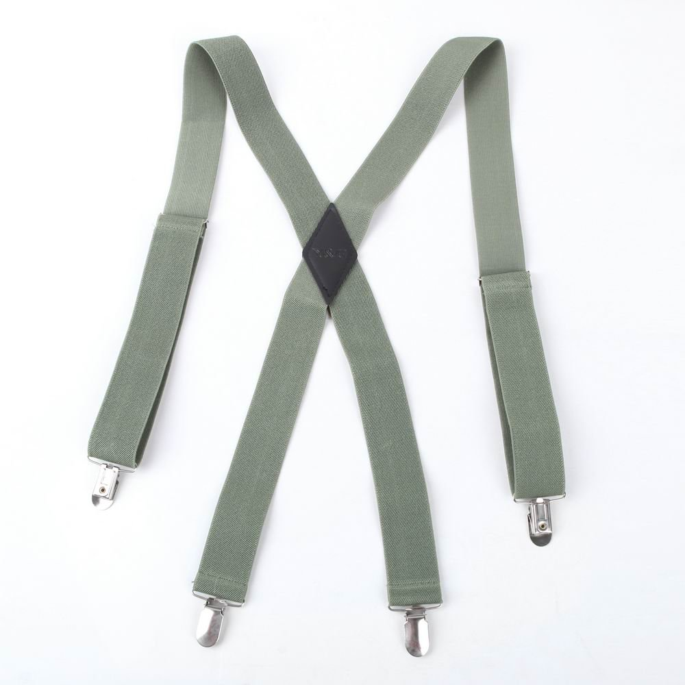 Green Solid Nylon Hold-Up X-Back Clip genuine Leather Suspenders Y&G business Suspenders SP2012 One Size Olive by Y&G (Image #1)