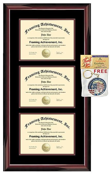 Amazon.com : Three Certificate Frame Triple University Degree Frames ...