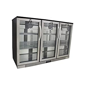 "54"" Wide 3-door Stainless Steel Back Bar Beverage Cooler, Counter Height"