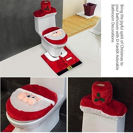 KANGLE Cubierta de Asiento de baño Santa Set 3D Nariz Rojo Adornos de Navidad baño Conjunto Cubierta de Asiento & Alfombra & Tejido de Caja de Cubierta ...