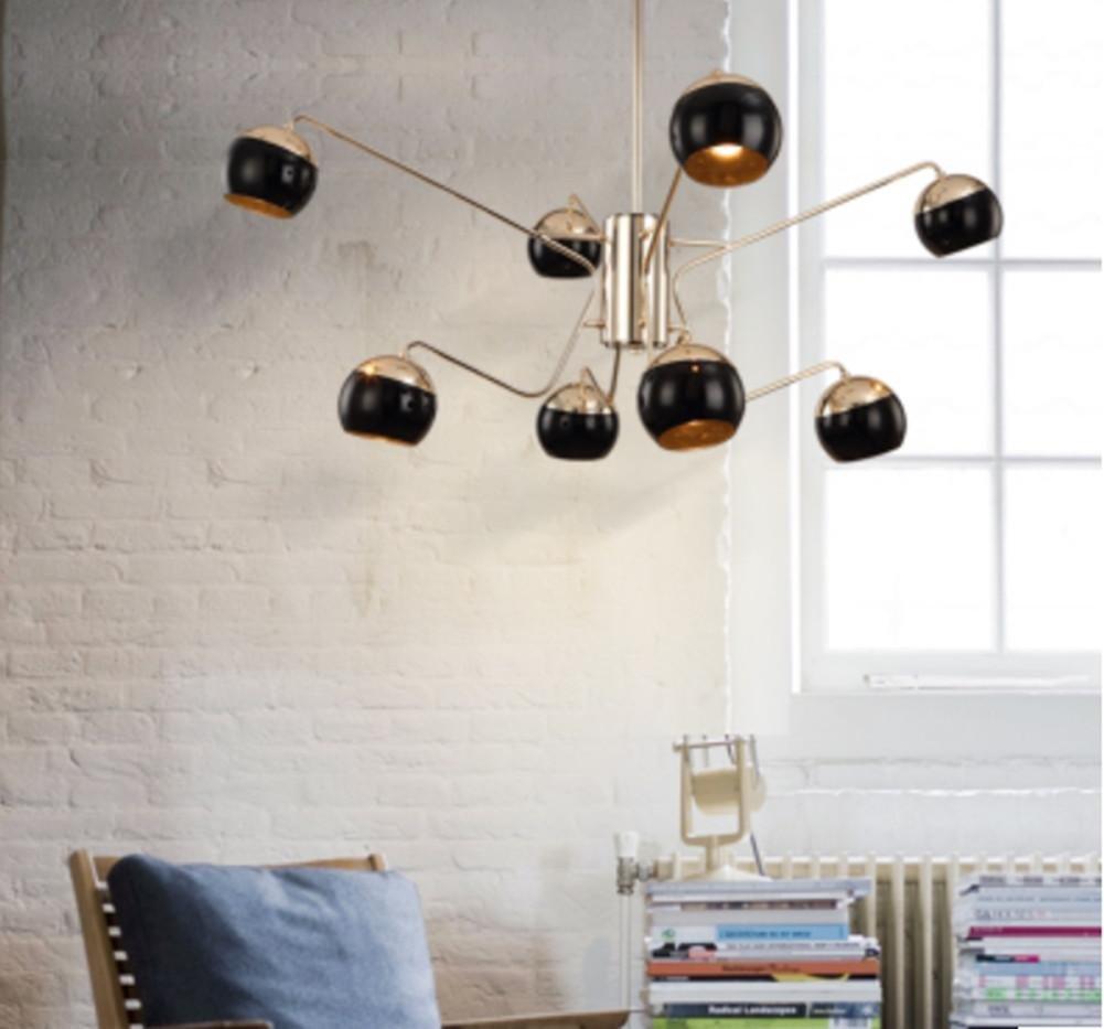 FWEF Moderne Eisen-Glasleuchter Wohnzimmer Licht Einfache Industrie Wind Beleuchtung Kunst Eisen Kreative Restaurant Beleuchtung . 3