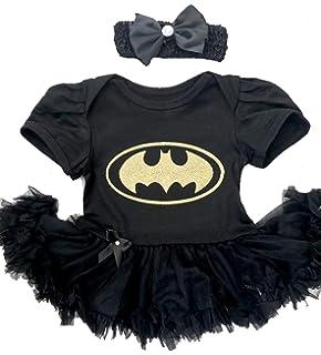 0979180006b64 Little Secrets Childrens Clothing Baby Girl's Gold Batman Black Tutu Romper  Bow Headband, Newborn Superhero