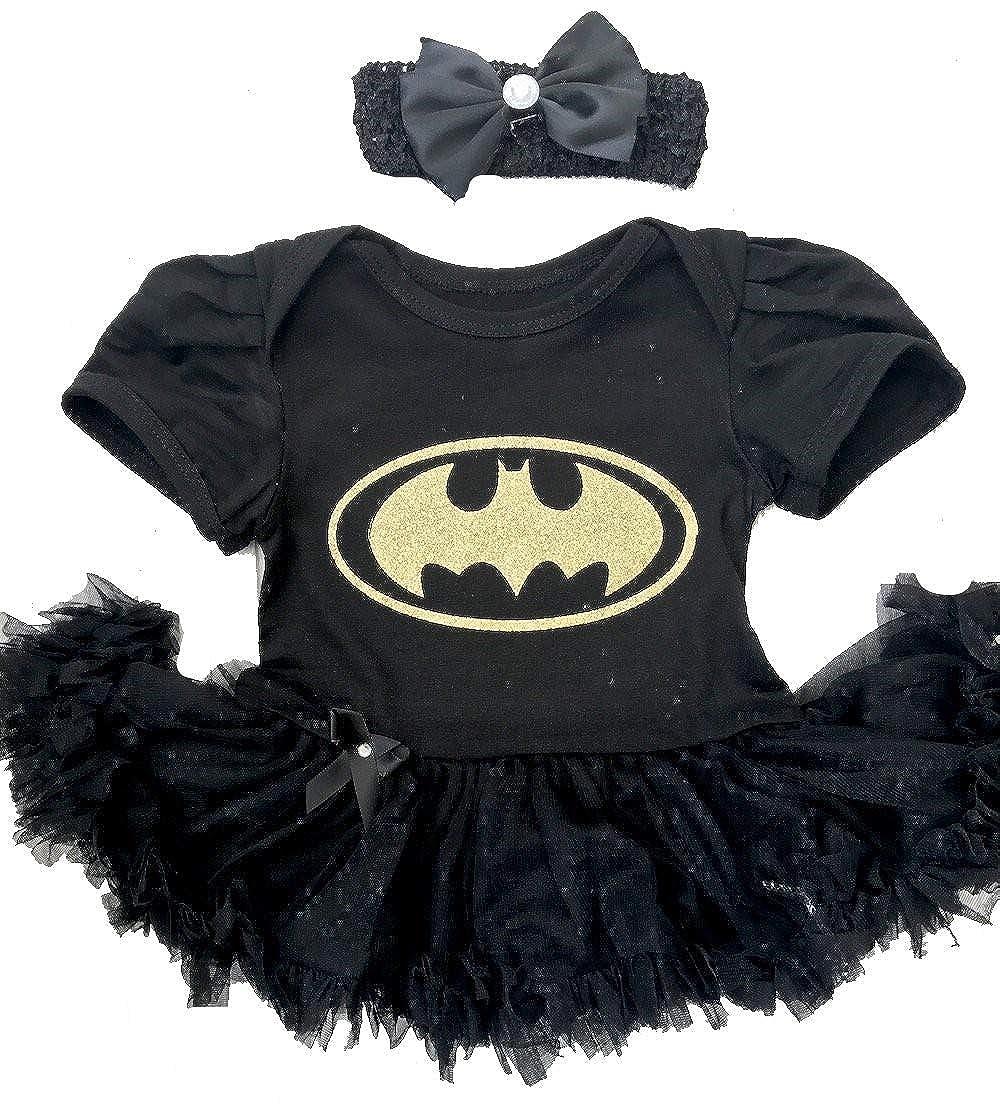 Little Secrets Childrens Clothing Baby Girl's Gold Batman Black Tutu Romper Bow Headband, Newborn Halloween Fancy Dress Costume Gift Present