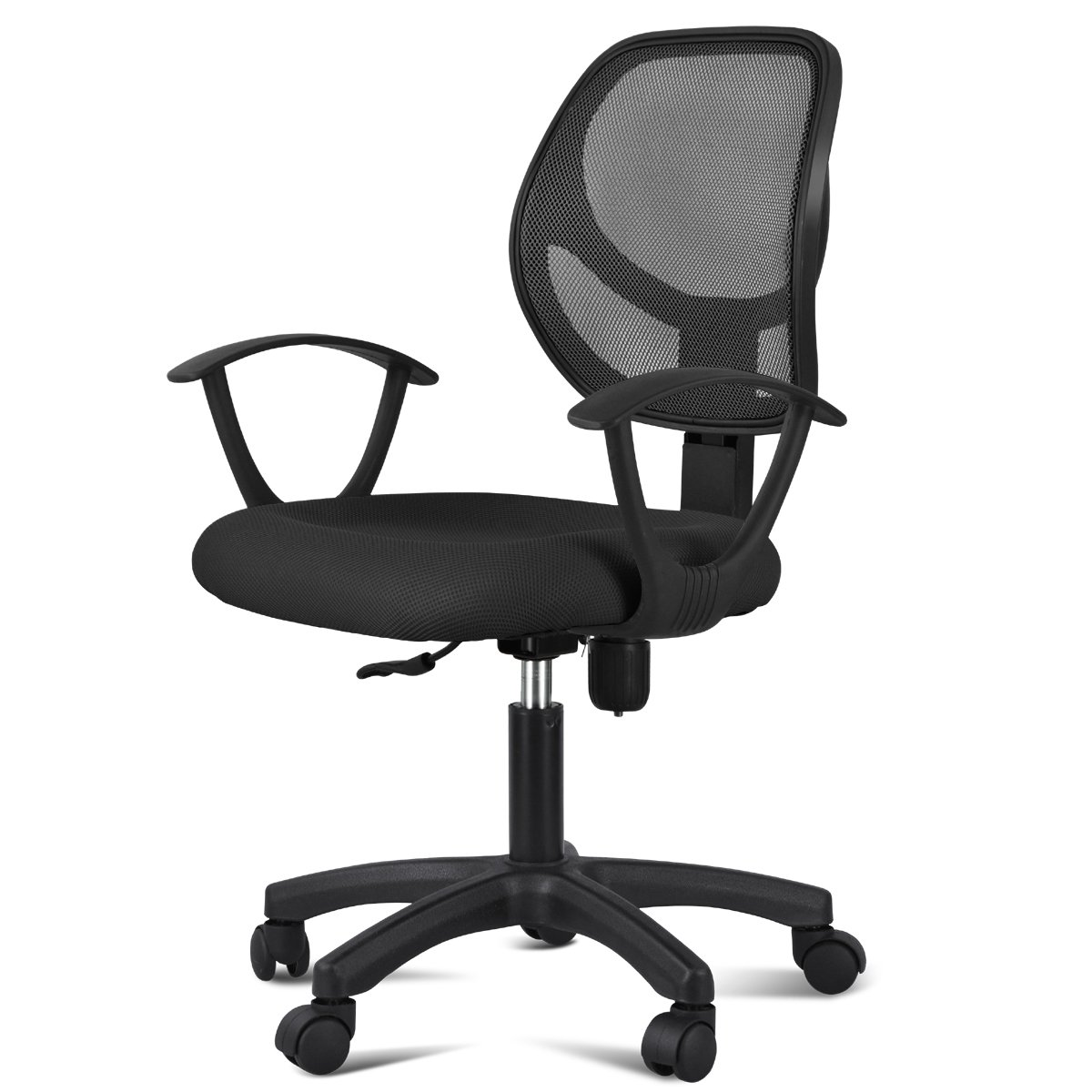 Yaheetech Mesh Chrome Adjustable Office Computer Desk Chair (Style1+Black)