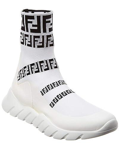the latest 5223c 34227 Amazon.com | Fendi High-Top Sock Sneaker, 7 UK, White ...