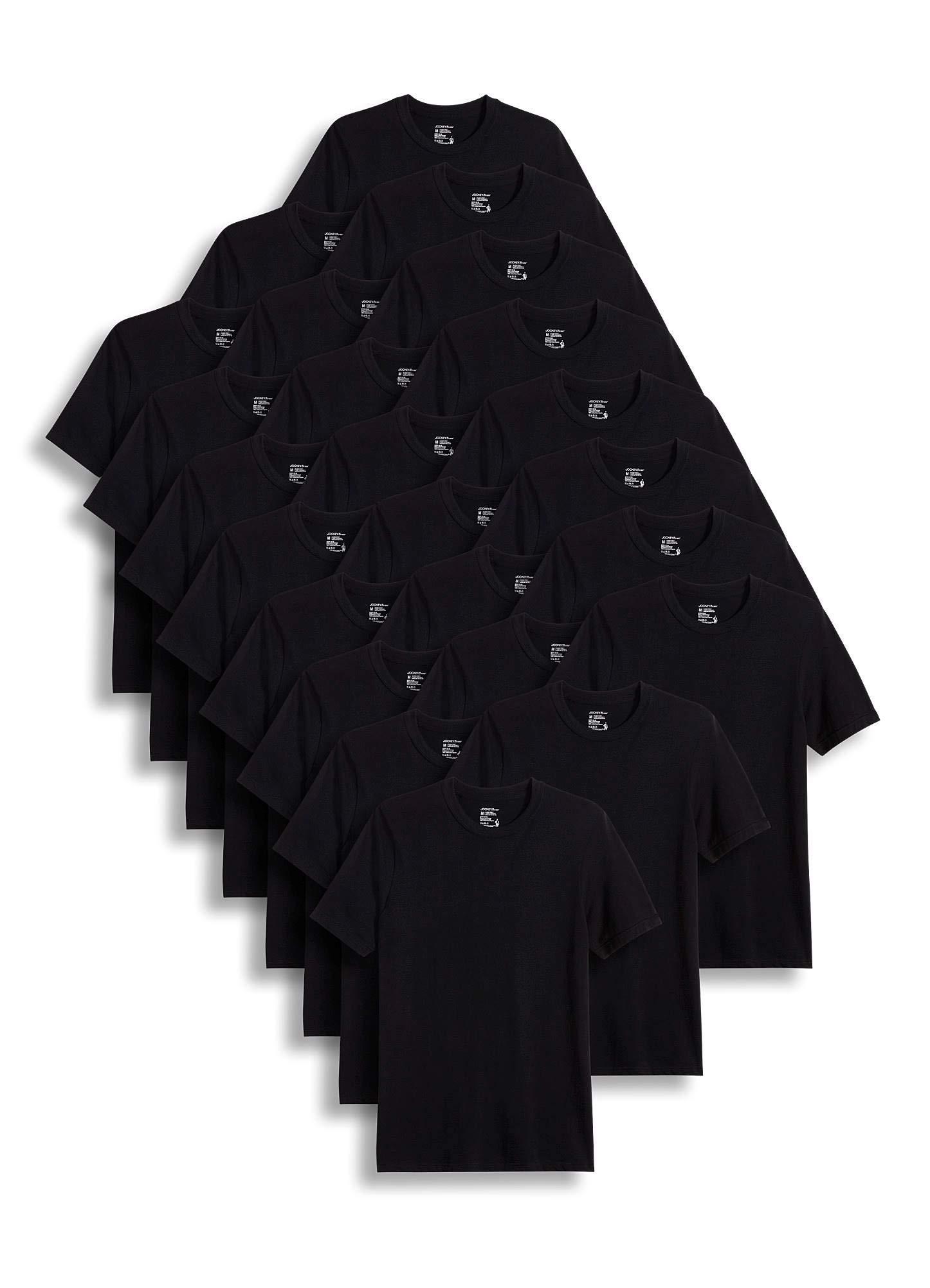 Jockey Men's T-Shirts Classic Crew Neck T-Shirt - 24 Pack, Black, XL