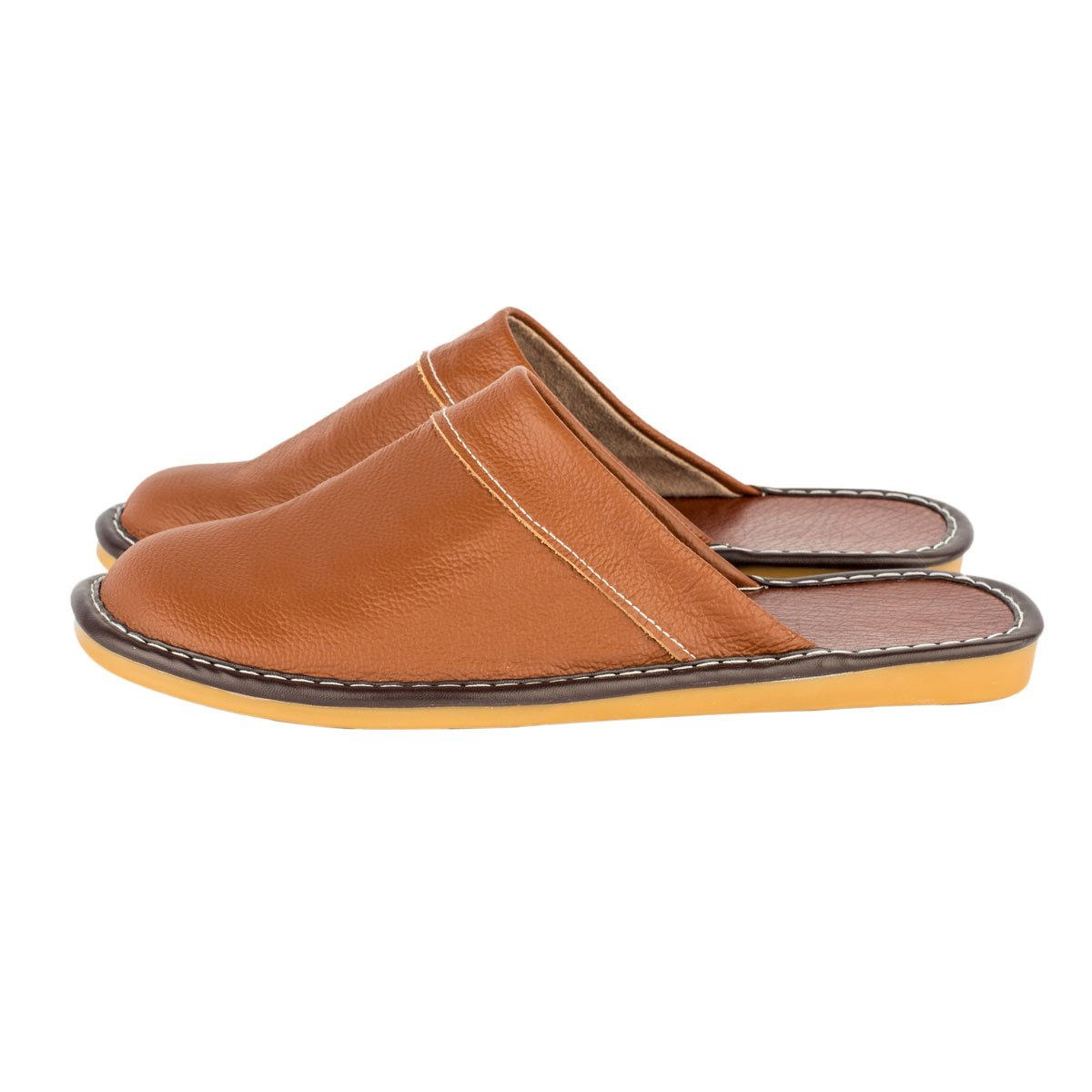 Haisum Mens Summer Indoor Leather Slippers Luxury Novelty Closed Toe Slip On House Sandals