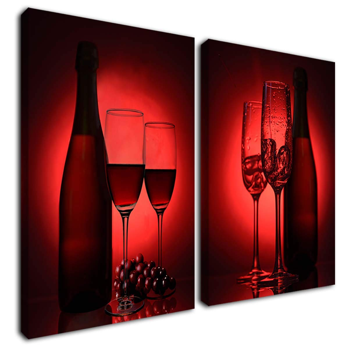 Gardenia Art - red Wine with Glasses Canvas Paintings Wall Art Pictures Dining Room Kitchen Decorations Theme Sets bar Accessories 12x16 in 2 Panels Stretched and Framed