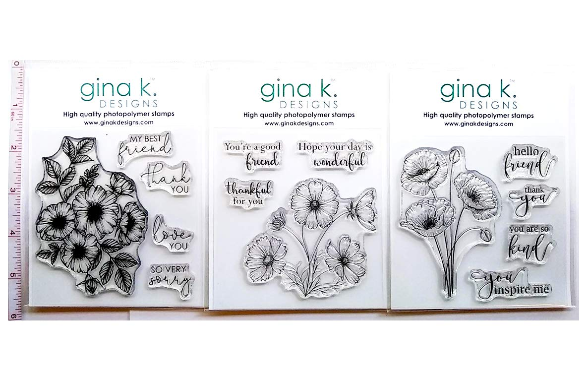 Gina K Designs Clear Cling Stamp Set Bundle - Flowers and Friendship