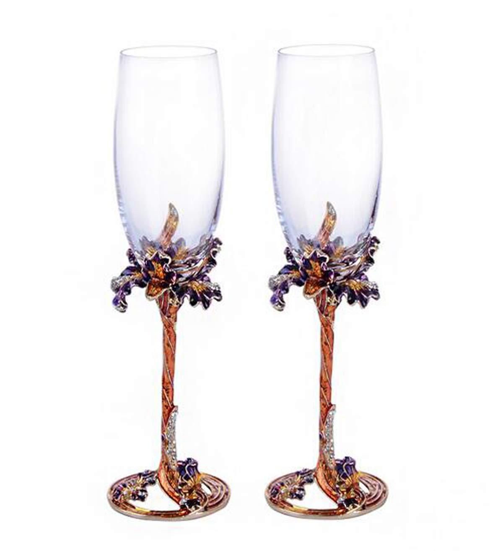 YBK Tech Handmade Enamel Craft Crystal Wine Glasses Champagne Flutes Set of 2 in Gift Box, Iris Design (Golden Iris)