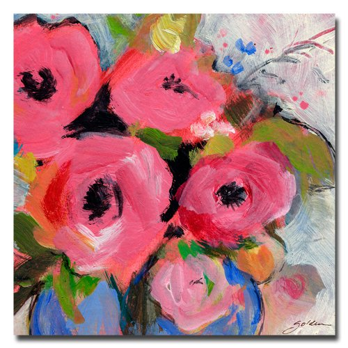 Bouquet Wall Art (Bouquet in Pink by Shelia Gold Ornate Frameen, 24 by 24-Inch Canvas Wall Art)