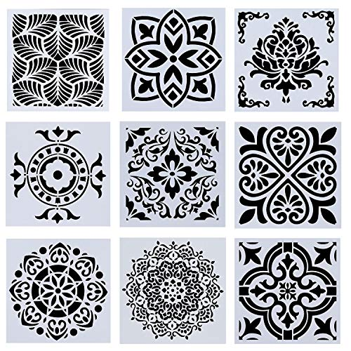 Flranea 9 Pcs Mandala Stencil for Painting on Wood Plastic Reusable Laser Cut Templates for Floor Furniture Wall Fabric Tile Airbrush Glass DIY Art Project Décor 6 x 6 Inch