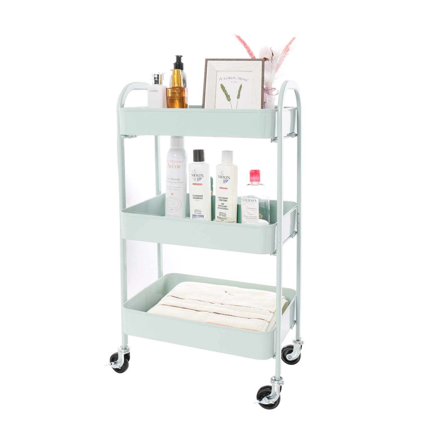 YOURLITE 3 Tier Metal Rolling Cart Organizer with Wheels w 2 Brakes Bathroom Cart with Handle 3 Tier Utility Cart with Span-on Design, No Bolts or Screws Installation Way, Light Green
