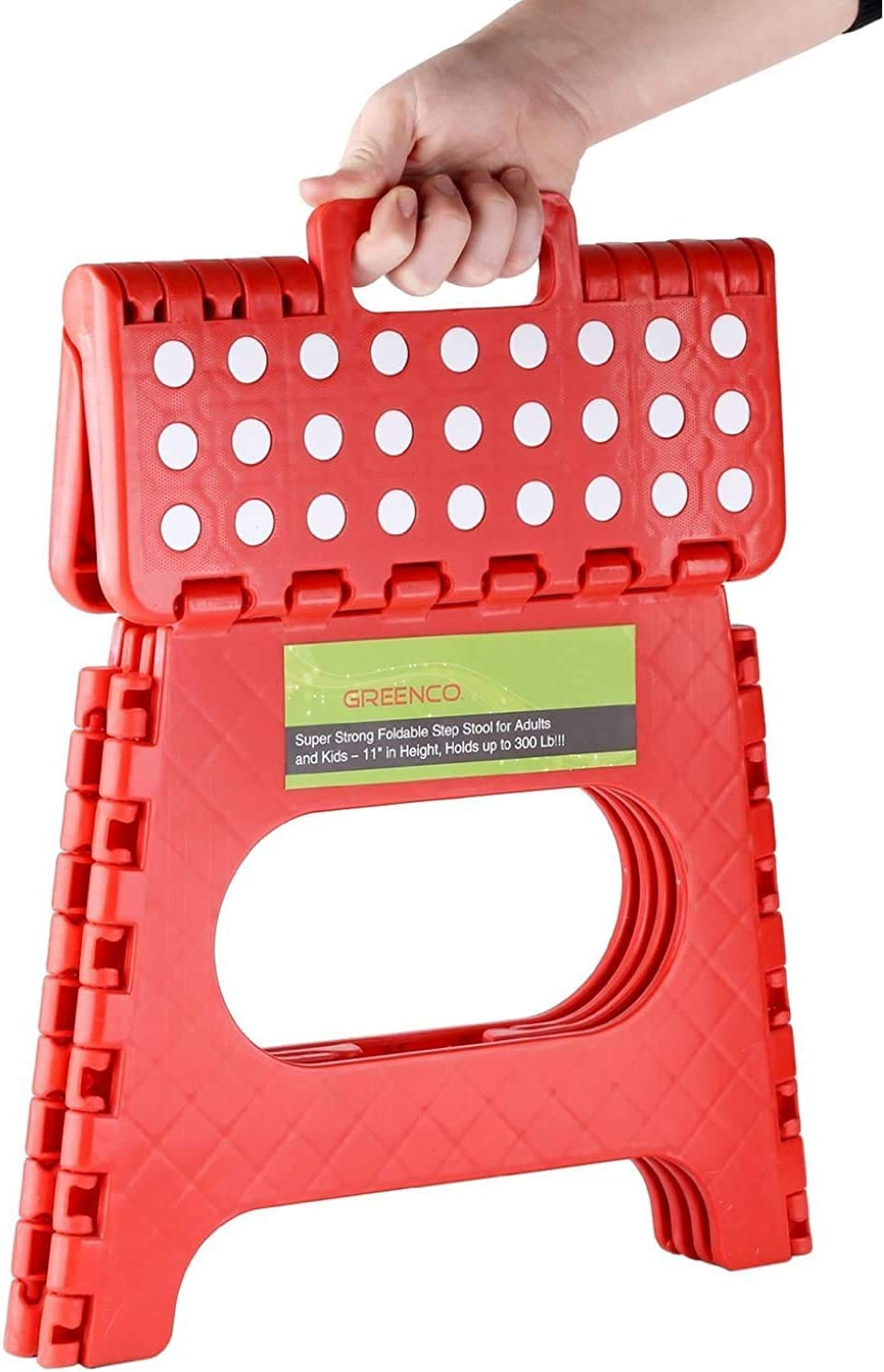 11 inch Greenco Red Strong Foldable Step Stool for Adults and Kids