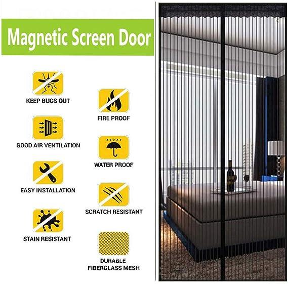 Magnet Fliegengitter T/ür 80x210cm Insektenschutz f/ür Balkont/ür Wohnzimmer Terrassent/ür Grau Easy Install Magnetvorhang