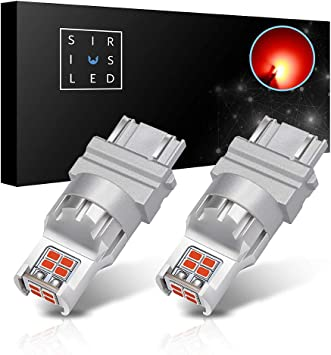 SiriusLED 2x 3157 3457 LED RED Turn Signal Brake Tail Light Bulbs 2835 SMD Chips