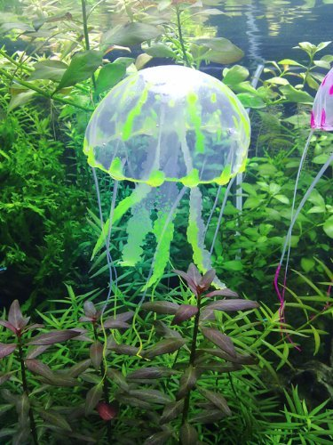 Brillante Efecto Medusa Artificial para Acuario Fish Tank Adorno, color amarillo