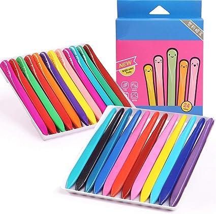 24 piezas / caja de lápices de colores no tóxicos, cera triangular, pegatina para niños niños pequeños guardería precoz herramienta de dibujo: Amazon.es: Oficina y papelería