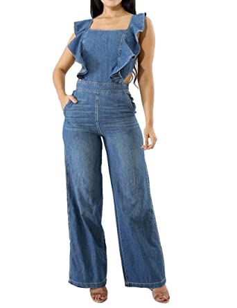30a0068fa054 Amazon.com  Oberora-Women Sexy Sleeveless Backless Wide Leg Pants Denim  Jumpsuit Romper  Clothing