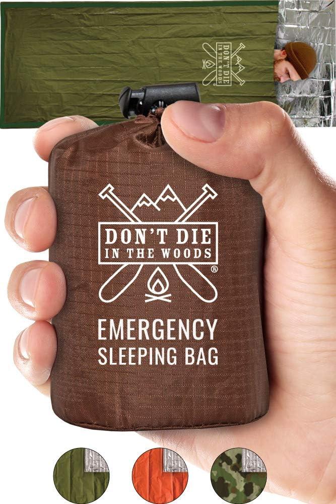 Emergency Sleeping Bag With Hood | Ultralight, Waterproof, Thermal Mylar Sleeping Bag Liner | Survival Bivy Space Blanket Bivey For Hiking, Bushcraft, Earthquake Prep, Surplus Camping Gear Army Green
