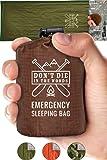 Emergency Sleeping Bag With Hood   Ultralight, Waterproof, Thermal Mylar Sleeping Bag Liner   Survival Bivy Space…