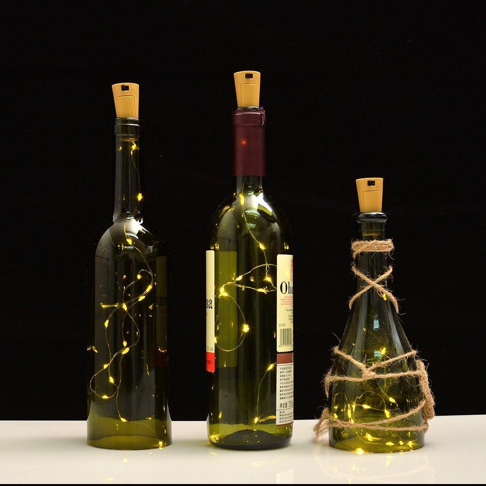 6 unidades corcho budbuddy LED Luz + 10 unidades LR44, botella Luz, 100 cm con 20 ledes de cálida luz cadena de luz, ideal para DIY, Fiesta, Navidad, ...