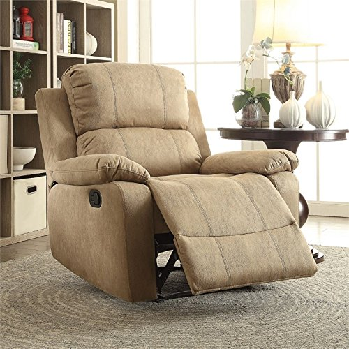 Acme Furniture AC-59526 Recliner, One Size, Light Brown Polished Microfiber