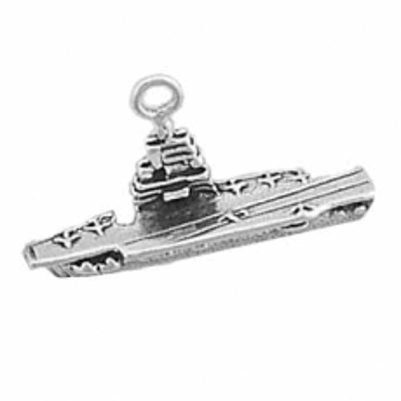 Sterling Silver Womens 1mm Box Chain Small 3D Naval Aircraft Carrier Pendant Necklace