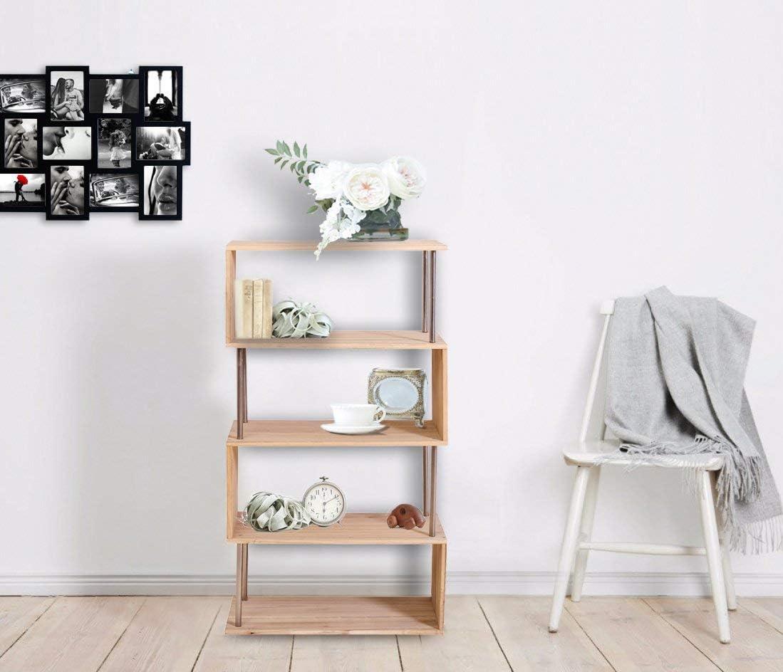 Rebecca Mobili Estantería con 4 estantes, librería de madera y metal, marrón claro, para sala de estar- Medidas: 126 x 66 x 33 cm (AxANxF) - Art. ...
