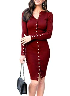 459f65cba85 MITILLY Women s Knit Sweater Long Sleeve V Neck Button Down Slim Fit Casual  Midi Dress