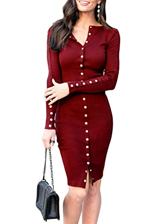 ed476e98ec MITILLY Women's Knit Sweater Long Sleeve V Neck Button Down Slim Fit Casual  Midi Dress X-Large Burgundy at Amazon Women's Clothing store: