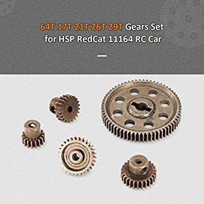 Goolsky Diff Differential Main Metal Spur Gear 64T 17T 21T 26T 29T Motor Gear RC Part for HSP 1/10 Monster Truck BRONTOSAURUS 94111: Toys & Games