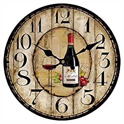 Upuptop Unique Home Hanging Decor Red Cup Wine Round Wall Clock Rustic Country Shop Style Diameter 16inch