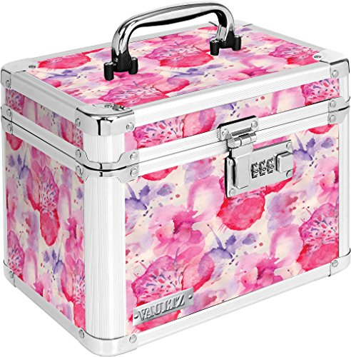 Vaultz VZ03807 Locking Personal Storage Box with Combination Lock and Carry Handle, Floral Design, 10 x 7.5 x 7 Inches, White and Gray