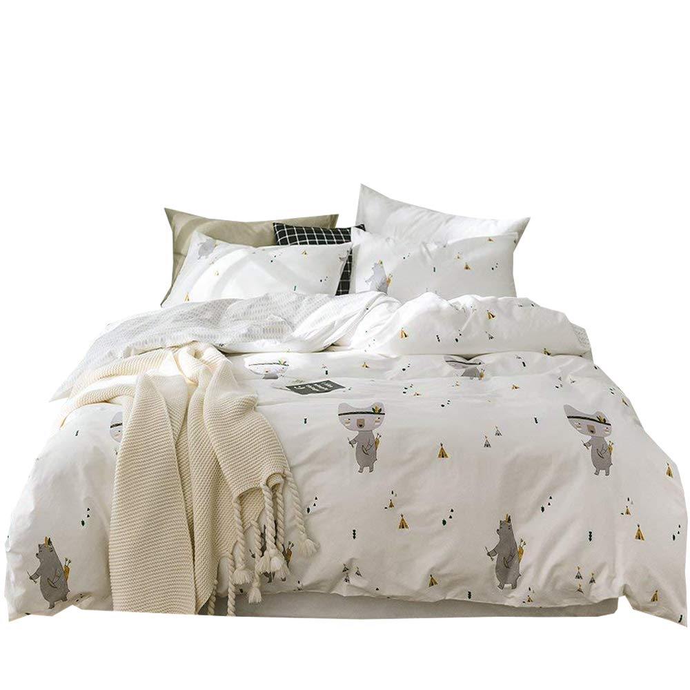 Green Cactus Duvet Cover Sets Kids Cotton Queen Included Comforter Cover and 2 Pillow Shams 3 Pieces Bedding Sets Full with Zipper Kids Boys Girls No Comforter (Queen, Styled) EnjoyBridal DC120DQ