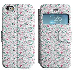 Be-Star Colorful Printed Design Slim PU Leather View Window Stand Flip Cover Case For Apple iPhone 5 / 5S ( Sketchy Heart ) Kimberly Kurzendoerfer