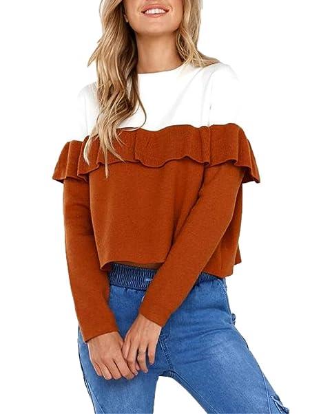 Primavera Otoño Lado de la Hoja de Lotus Corto Top Mujeres Casual Cuello Redondo Camisetas de