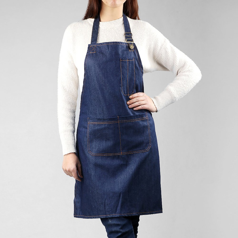 Akway Apron Demin Fabric Unisex Apron for Men&Women Aprons with Convenient Pockets, WQ-NZX