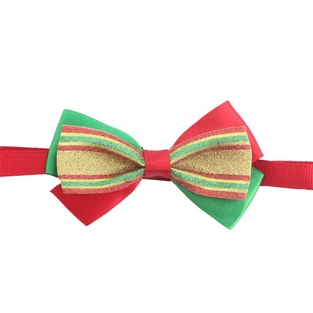 50PCs Dog Charm Collar Handmade Bow Tie Gold Lace Merry Christmas Dress up Small Medium Dog