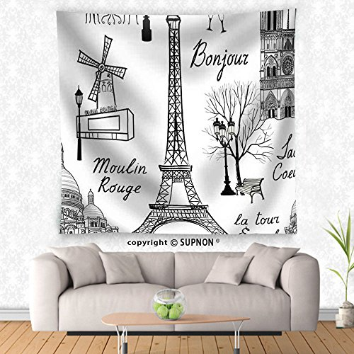 VROSELV custom tapestry Travel Paris Seamless Pattern. Vacation in Europe Wallpaper - Fabric Wall Tapestry Home Decor - Crest Tapestry
