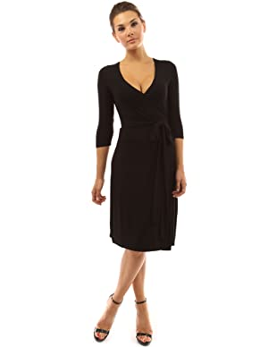 PattyBoutik Women's V Neck 3/4 Sleeve Faux Wrap Dress (Black S)