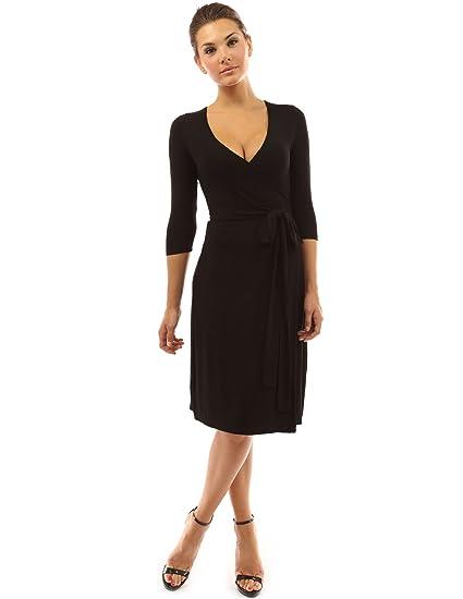Pattyboutik Womens V Neck 34 Sleeve Faux Wrap Dress At Amazon