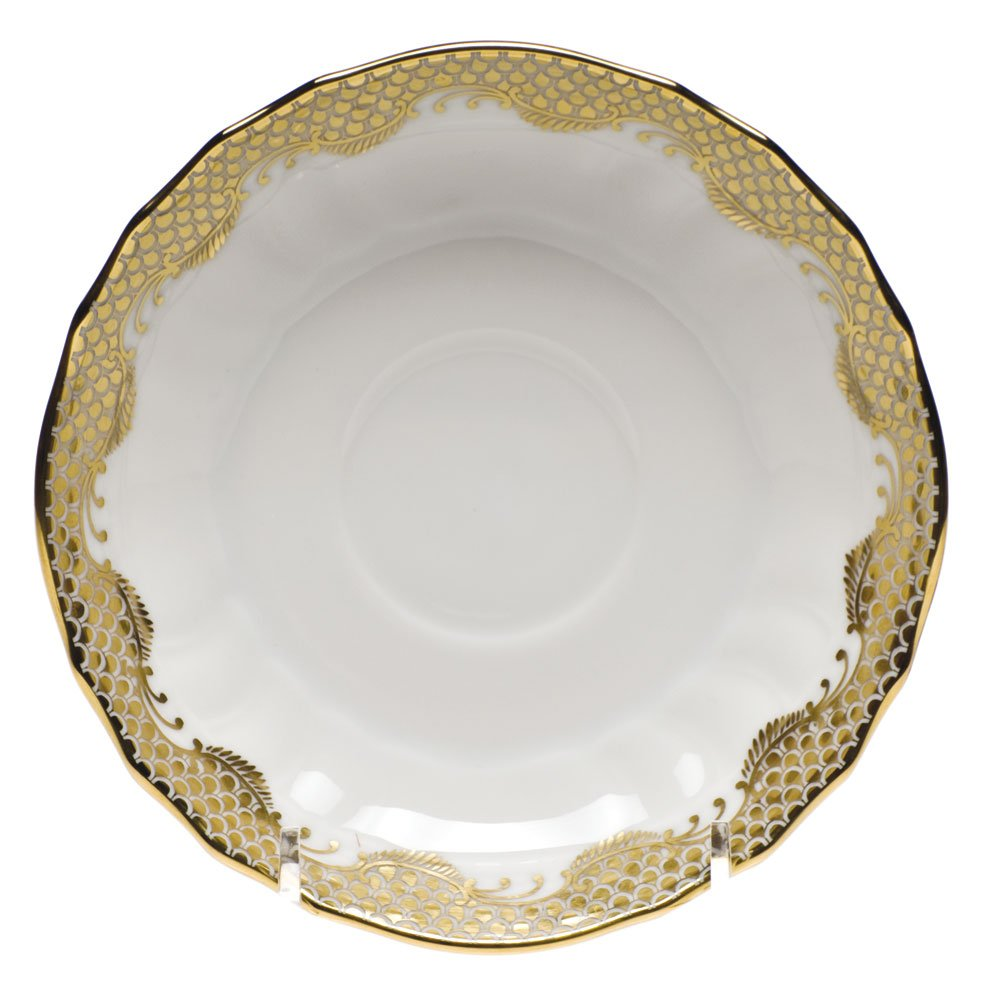 Herend Fish Scale Gold Canton Saucer AEORH-01726-1-00