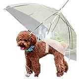 Transparent Umbrella with Built-in Leash Pet Dog Puppy Dry Comfortable In Rain