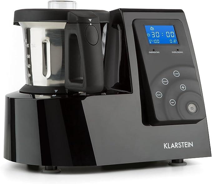 Klarstein Kitchen Hero - Robot de cocina universal, Vaporera, Motor 600 W, Potencia 1300 W, 9 en 1, Turbofunción, Batidora 2 L, 4 Programas automáticos, Libro de recetas, Negro: Amazon.es: Hogar