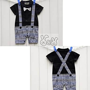 854838df2 Amazon.com: 39/40 Baby Boy Short White Shirt + Black Bow tie Checked ...