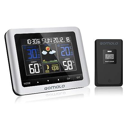 Digitale Funk Wetterstation Thermometer Barometer Luftfeuchtigkeit m.Farbdisplay