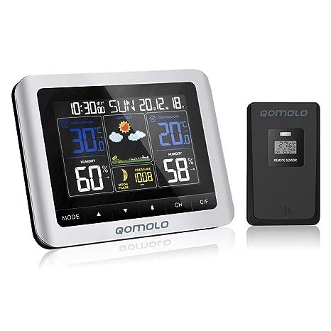 Qomolo Estación meteorológica inalámbrica con Monitor de Humedad y Temperatura Interior, Sensor Exterior, Fecha, Reloj Despertador, Fase Lunar ...