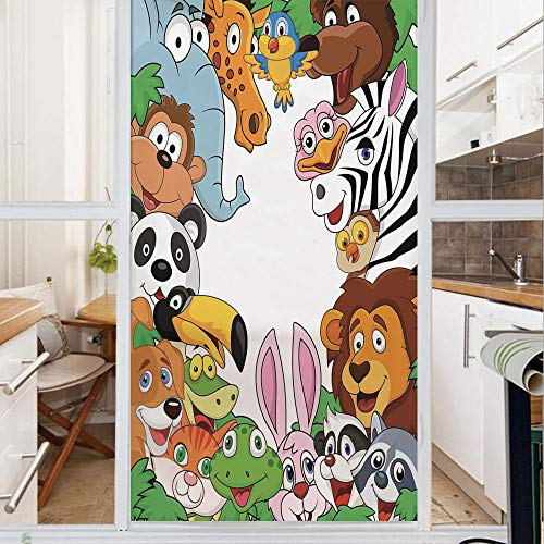 - Decorative Window Film,No Glue Frosted Privacy Film,Stained Glass Door Film,Wild Jungle Animals Tropical Fauna Family Collection Happy Faces in Cartoon Style Decorative,for Home & Office,23.6In. by 47