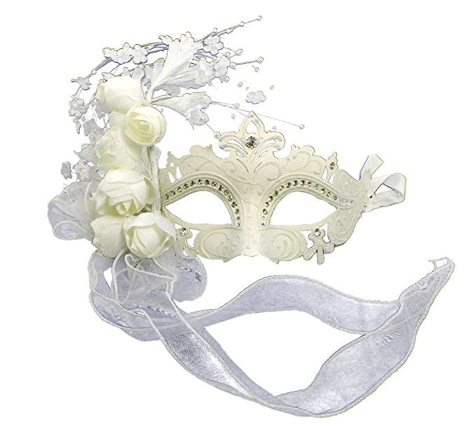 Amazon.com: RedSkyTrader Womens Sparkling Wedding Venetian Mask One Size  Fits Most White: Clothing